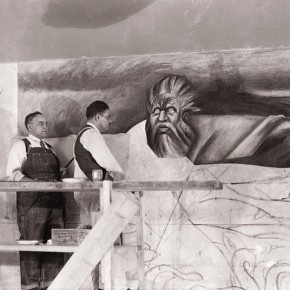 José Clemente Orozco at work on The Departure of Quetzalcoatl, a panel of the mural The Epic of American Civilization at Dartmouth University 1932-33.