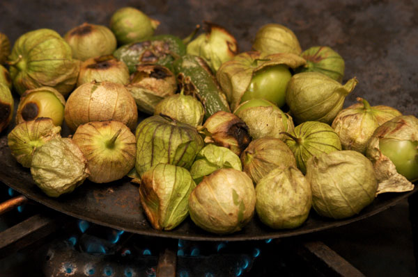 Comal with roasted tomatillos