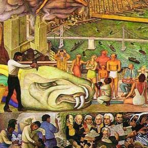 Unidad Panamericana Panel 2 (Pan American Unity Panel 2) By Diego Rivera. City College of San Francisco, California. 1940