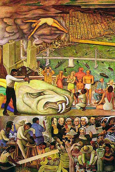 Diego rivera another day in paradise for City college of san francisco diego rivera mural
