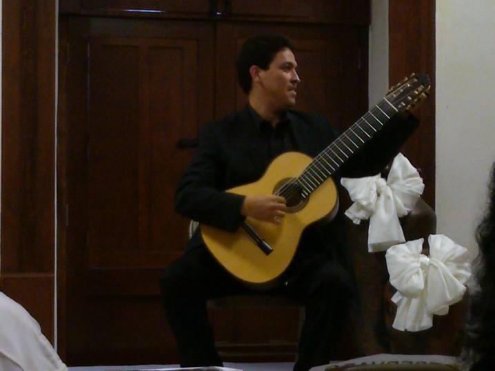 Jose Luis Lara of Venezuela, performing at Feria de Paracho Guitar festival, Uruapan, Michoacan, August 2013